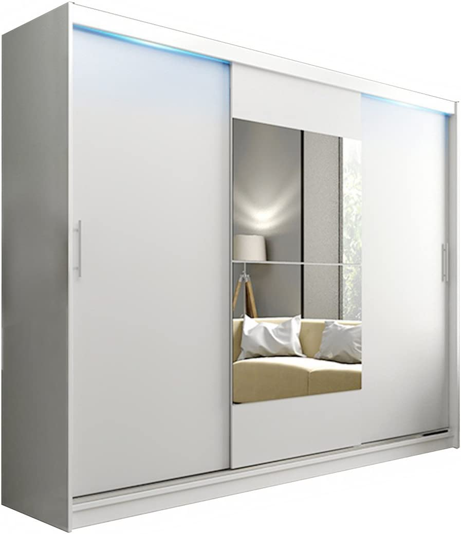Alter GM Armario Moderno AVA 1aa Luces LED Espejo 3 Puertas correderas para Colgar estantes Dormitorio 250 cm, Blanco con Luces LED, with Carrying Service: Amazon.es: Hogar