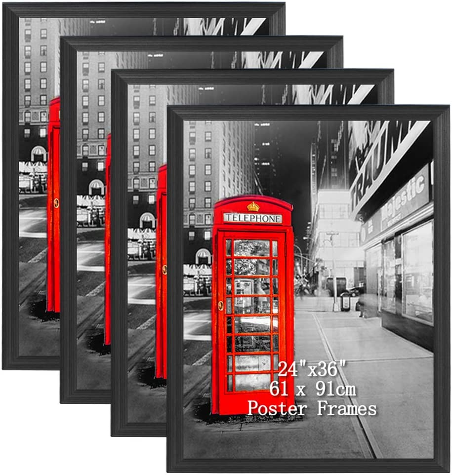 Lavezee 24x36 Black Poster Picture Frames Set, Made to Display 24 by 36 Inch Photo Picture Frame for Wall Decor, 4 Pack