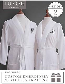75309edc1c Luxor Linens Couple s Terry Cloth Bathrobe Egyptian Cotton Unisex One Size  Luxurious Soft Plush Elegant