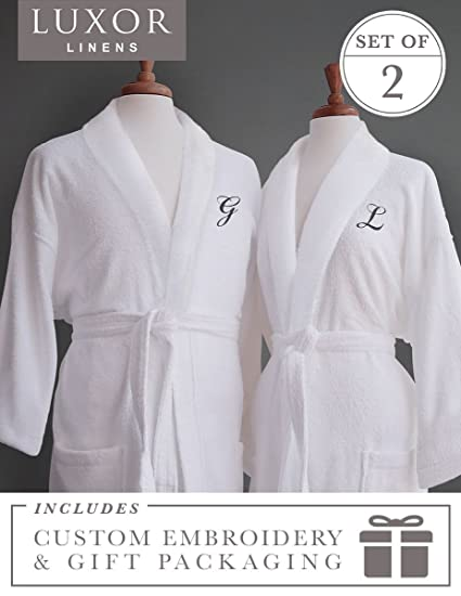 ccb8e9721a Luxor Linens Couple s Terry Cloth Bathrobe Egyptian Cotton Unisex One Size  Luxurious Soft Plush Elegant
