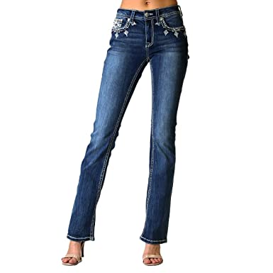 46c144556d6 Women's White Cross Embellished Easy Bootcut Jeans | EB-3251 - Size 26 Blue
