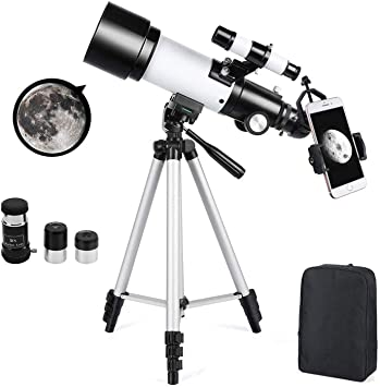 White Astronomical Telescope 70mm Astronomy Refractor Telescopes with Backpack Outdoor Merkmak Telescope with Tripod Perfect for Children Adults Educational and Gift