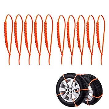 JZF - Cadenas antideslizantes, portátiles para tracción de emergencia, cadenas de nieve antideslizantes para neumáticos de coche, bridas para varios usos ...