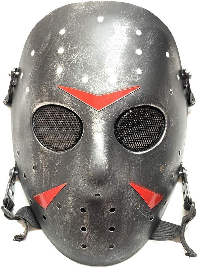 Worldshopping4U Nueva Cara Completa protección máscara al Aire Libre Jason Metal de Malla para Tactical Paintball Silver Black