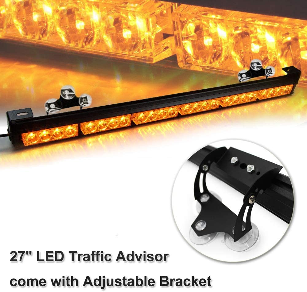 Amber 27 High Intensity Law Enforcement Traffic Advisor Emergency Warning Hazard Strobe Light Bar Kits for Truck Undercover Vehicle w//Adjustable Large Suction Cup Bracket