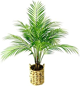 Fake Plants Artificial Palm Tree Faux Plants Décor Indoor Outdoor in Woven Planter 28 inches Tall 1 Pack