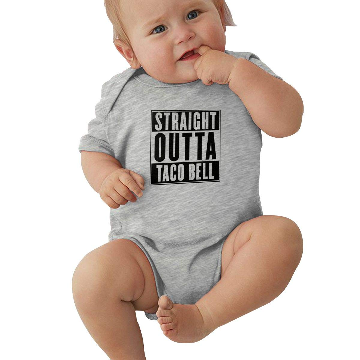 Straight Outta Taco Bell Graphic Newborn Baby Short Sleeve Bodysuit Romper Infant Summer Clothing Gray