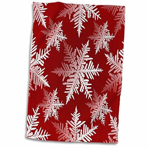 3dRose 3D Rose Seasonal White Snowflakes Design on Red Tonal Background Hand Towel, 15