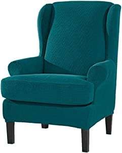 2 Piece Stretch Wingback Chair Sofa slipcover Furniture Cover Protector with Elastic Bottom Spandex Jacquard Checked Pattern (Teal)