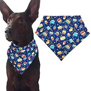 MIAPETTBTB Dog Birthday Bandana Triangle Bibs Scarf Accessories with Hat for Pets Animals - Cake 99