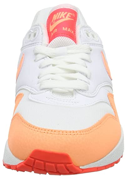 new styles b054a cf8ed Amazon.com   Nike Womens Air Max 1 Essential White HOT Lava Sunset Glow  599820-114 10   Road Running