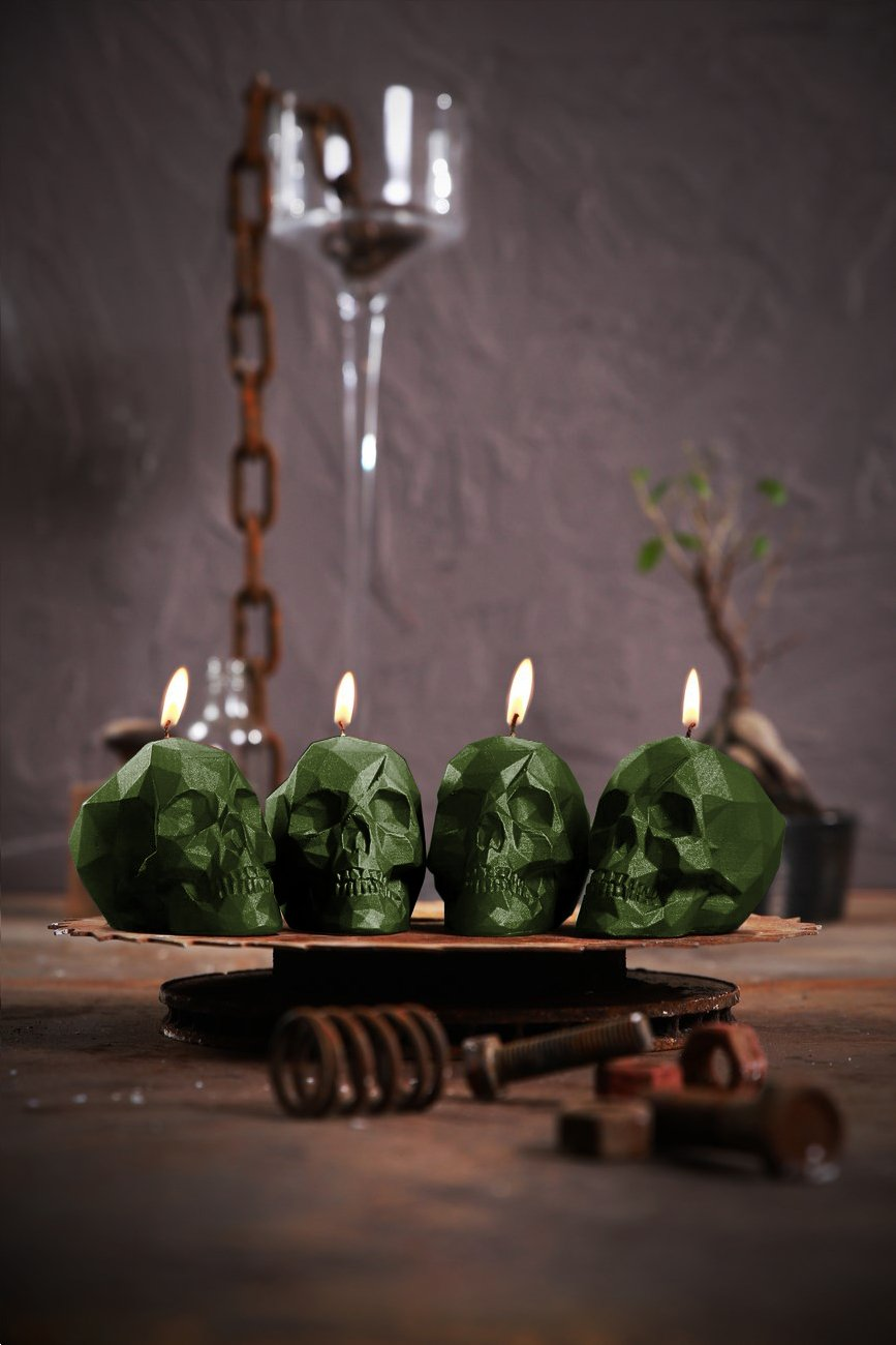 Candellana Candles 5902841368613 Skull Small Candles (Set of 4), Dark Green, 4 Piece