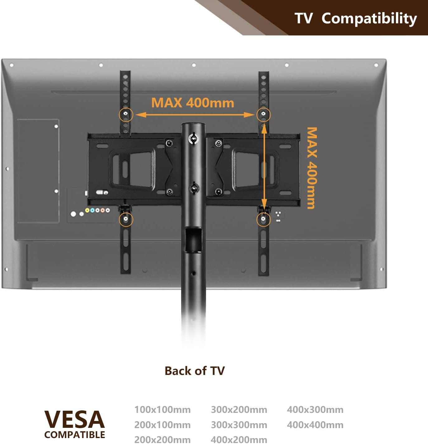 Soporte TV Ruedas Soporte TV movil para televisiones de pantalla plana o curvada de 32 a 55 pulgadas MAX VESA 400 x 400 mm