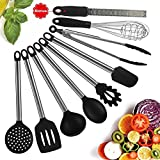 Kitchen Gadgets Sets,IdealHouse Silicone Cooking Utensil Set with Stainless Steel Handles, Nonstick Silicone Kitchen Utensils Set of Zester,Ladles,Pasta Server,Spatulas and More,9 Piece