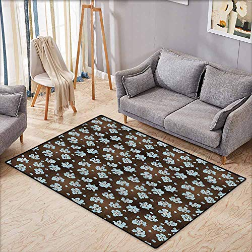 Large Area mat,Brown and Blue,Flowers with Vertical Dotted Lines Abstract Floral Arrangement Art,Rustic Home Decor,4'7