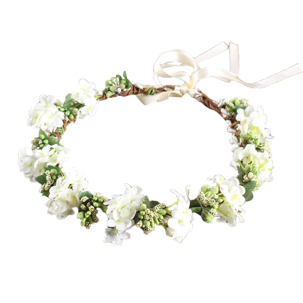 OULII Wedding Floral Headband Women Flower Head Wreath Bridesmaid Bridal Flowers Girls Hair Accessories (White) L11RM8334ALTB35YFSE5E0EHV
