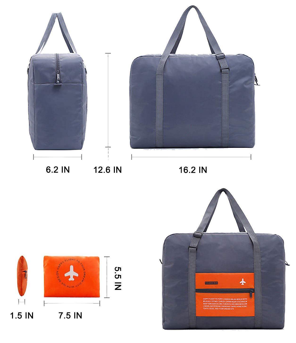CHYOUL Travel Foldable Packable Lightweight High Capacity Luggage Duffle Tote Bag Orange by CHYOUL (Image #2)