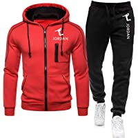 Jordan Men's Track Suit, Full Zipper Hoodie and Track Pants, with 3D Brand Printing, Suitable for Fitness and Outdoor…