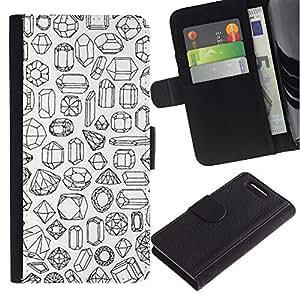 LASTONE PHONE CASE / Lujo Billetera de Cuero Caso del tirón Titular de la tarjeta Flip Carcasa Funda para Sony Xperia Z1 Compact D5503 / Stones Art Diamond Ruby Emerald