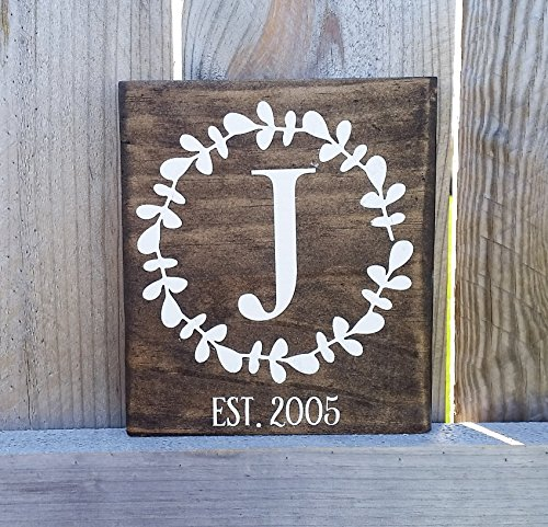 Monogram wood sign, established date sign, wedding gift, bridal shower gift, gift for mom, gift for her, stained sign