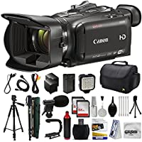 Canon XA30 HD Professional Video Camcorder + 128GB Memory + Camera Case Bag + Tripod + Monopod + 2 Extra Batteries + Action Stabilizing Handle + LED Light + Mic + Cleaning Kit +