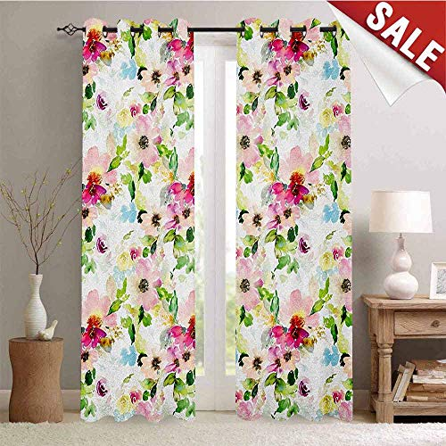 Floral, Decor Curtains by, Spring Season Flowers Leaves