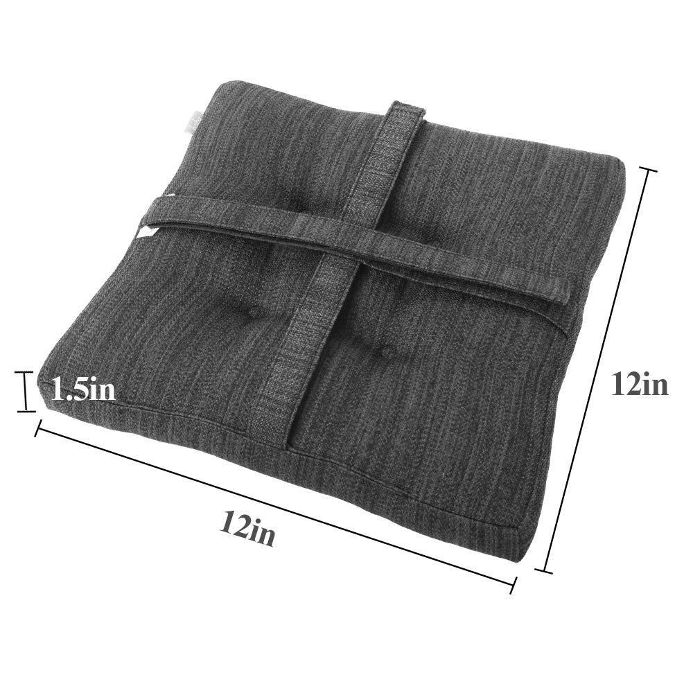 baibu Set of 2 Square Seat Cushion, Super Soft Bar Stool Square Seat Cushion with Ties – Cushion Only Gray-Black, 12 30CM 2PC
