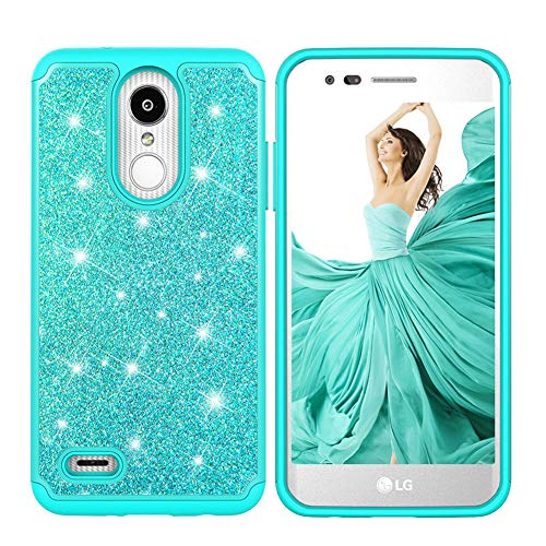 Glitter LG Aristo Case for Girls,LG Aristo 2 Case Slim Fit LG Fortune Case,Cute LG Tribute Dynasty Phone Case Silicone Hard Back Cover Case for LG K8 Plus 2018/Empire/Phoenix 4/LV3/Rebel 3/Risio-Teal