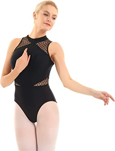 TiaoBug Womens Zip-Front Halter Neck Lace Net Back Tank Ballet Leotards