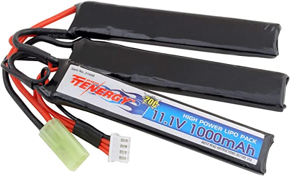 Tenergy Airsoft Battery 11.1V 1000mAh LiPo Battery Pack 20C High Discharge Rate Crane Stock Battery Pack Split Type w/Mini Tamiya Connector Rechargeable Hobby Battery Pack for Airsoft Guns