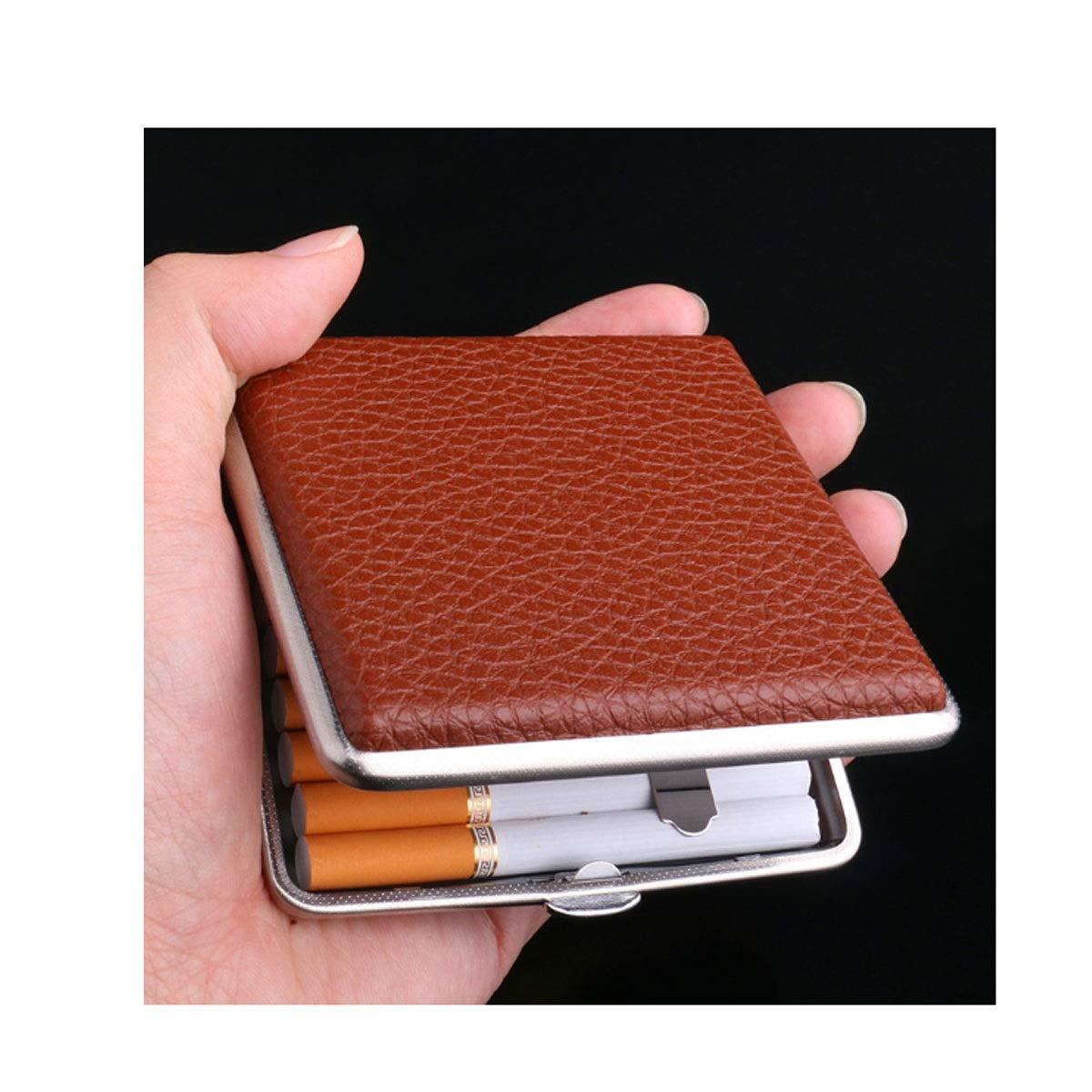 HUIJUNWENTI Cigarette Box, Ultra-Thin Simple Men's Cigarette Case, 20 Packs, Portable Leather Metal Cigarette Holder, Personalized Gifts (Size : Brown)