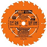 CMT P07024-X10 ITK Plus Fast Framing Saw Blade Masterpack, 7-1/4 x 24 Teeth, 10° ATB+Shear with 5/8-Inch bore - 10-Pack