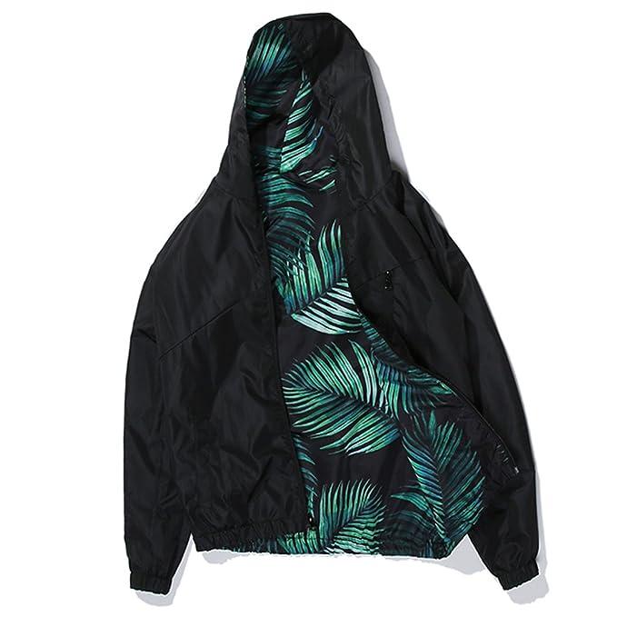 Hombre Chaquetas Chaquetas con Capucha Hombre Primavera Verano Chándal Chaqueta Escudo Casual Streetwear Hoja Imprimir Hip Hop Outwear: Amazon.es: Ropa y ...