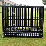 Walcut 42'' Heavy Duty Square Tube Dog Cage Crate Kennel Pet Playpen w/ Wheels and Tray