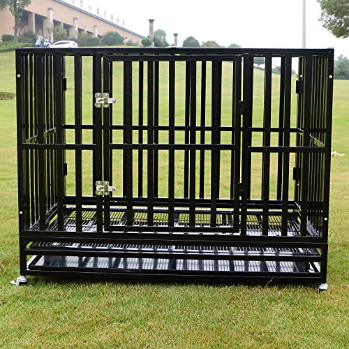 Sliverylake Heavy Duty Metal Dog Crate Cage Pet Kennel Playpen Exercise w/Wheels Tray - New Type Square Tube (48'') (48' Dog Cage)