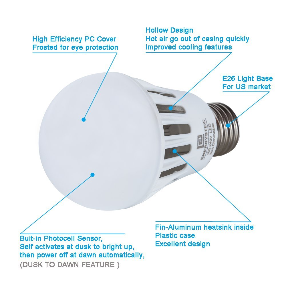 Dusk To Dawn Led Light Bulbs With Photocell 4200k Day White 7 Watt Diagram Of Incandescent Bulb Smart Sensor Porch Lights A19 E26 Edison Base Automatic Security For