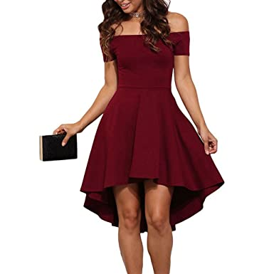 Moxeay Women Off Shoulder High Low Swing Party Cocktail Formal Skater Dress  (L e71ca6f41