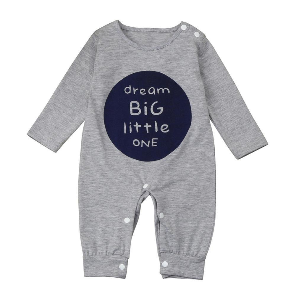 Clearance! Baby Winter Clothes Outfits for 3-18 Months Mingfa Unisex Newborn Infant Boy Girl Long Sleeve Letter Romper Jumpsuit (Gray, 3M) Mingfa.y_Baby clothes