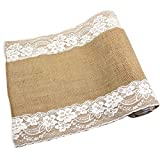 CCTRO Lace Hessian Table Runner, Rustic Natural