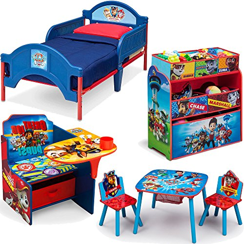 Nickelodeon Delta Children Nick Jr Paw Patrol 6-Piece Furniture Set - Plastic Toddler Bed, Table and Chairs set, Multi Bin Toy Organizer and Chair Desk With Storage Bin (Bed Sets Canada)