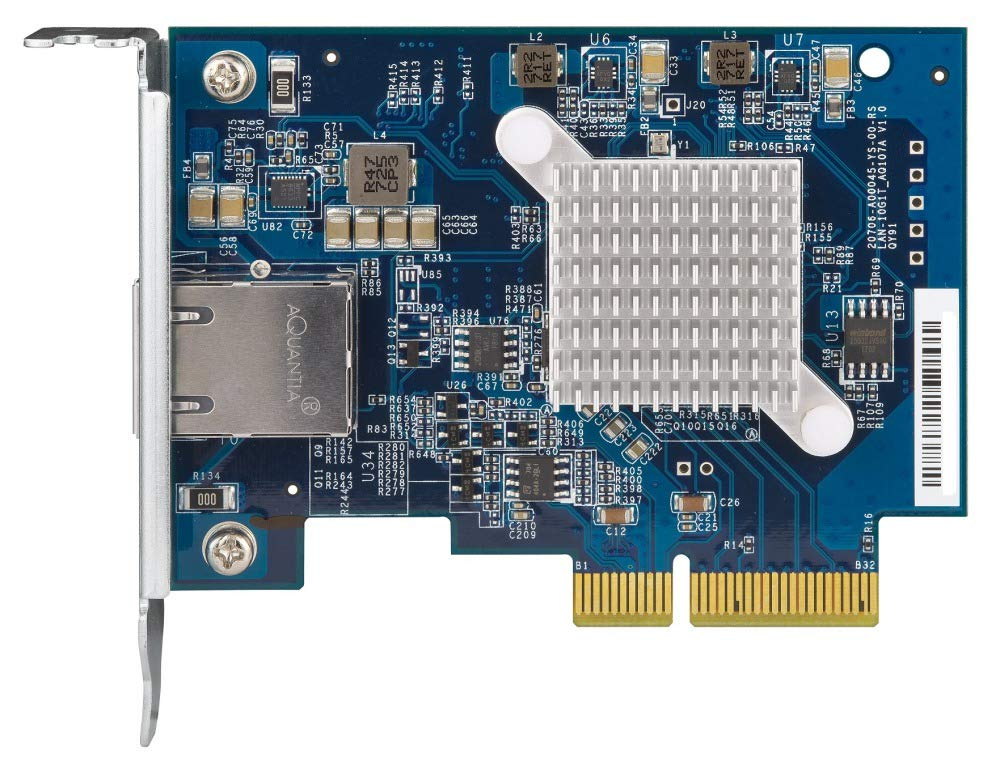 QNAP QXG-10G1T Single-Port (10Gbase-T) 10GbE Network Expansion Card, PCIe Gen3 x4, Low-Profile Bracket pre-Loaded, Low-Profile Flat Full-Height Brackets are Included