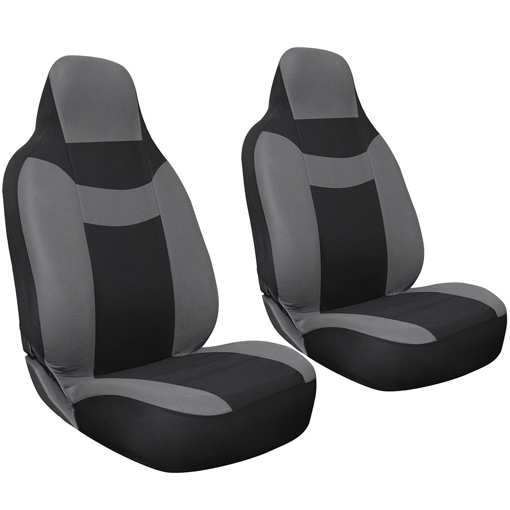 Amazon Oxgord 2 Piece Integrated Flat Cloth Bucket Universal Seat Covers Gray And Black Automotive