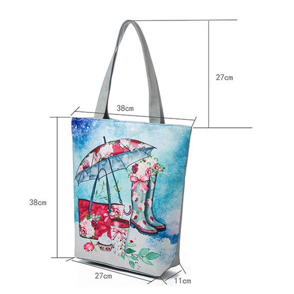 HLD Canvas etniskt tryck kvinnor tygväska paraply regn skomönster kvinnor tygväska shoppingväska strandväska messengerväskor (färg: D) b