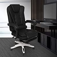Gaming Chair Office Computer Seat Racing PU Leather Executive Footrest Racer Black with footrest