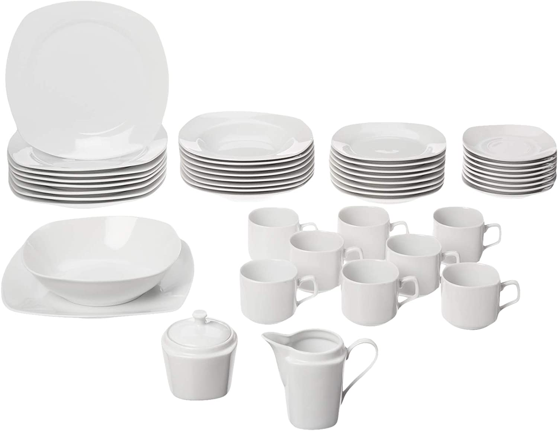 45 Piece Dinnerware Set Square Kitchen Banquet Dinner Plates Cups Dishes White