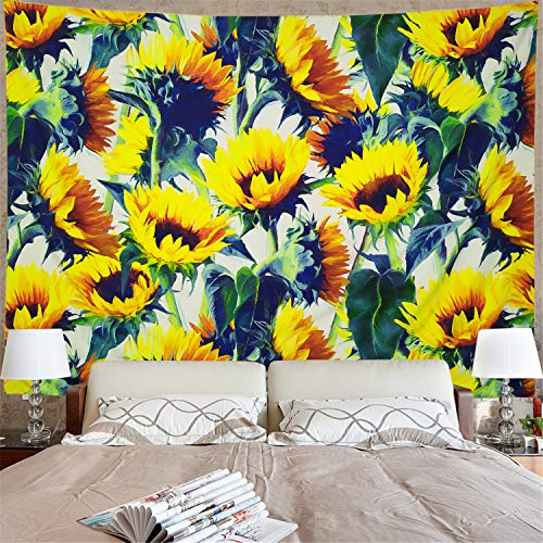 Sunflowers Tapestry Yellow Sunflower Wall Hanging Tapestry Watercolor Plant Printed Wall Tapestry Bohemian Bloom Sunflower Flower Tapestry Hippy for Living Room Bedroom Dorm ()