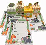 Adorox Baby Shower Birthday Party Jungle Invitations / Treat Box Bundle Pack Safari Favors and Invites Combo (96 Pcs. Pack (48 Invites + 48 Boxes))