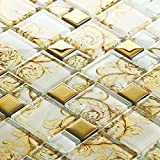 Gold Coated Glass Mosaic, White Crystal Random Pattern - Bathroom/Kitchen Wall/Backsplash (Box of 11 Sheets)
