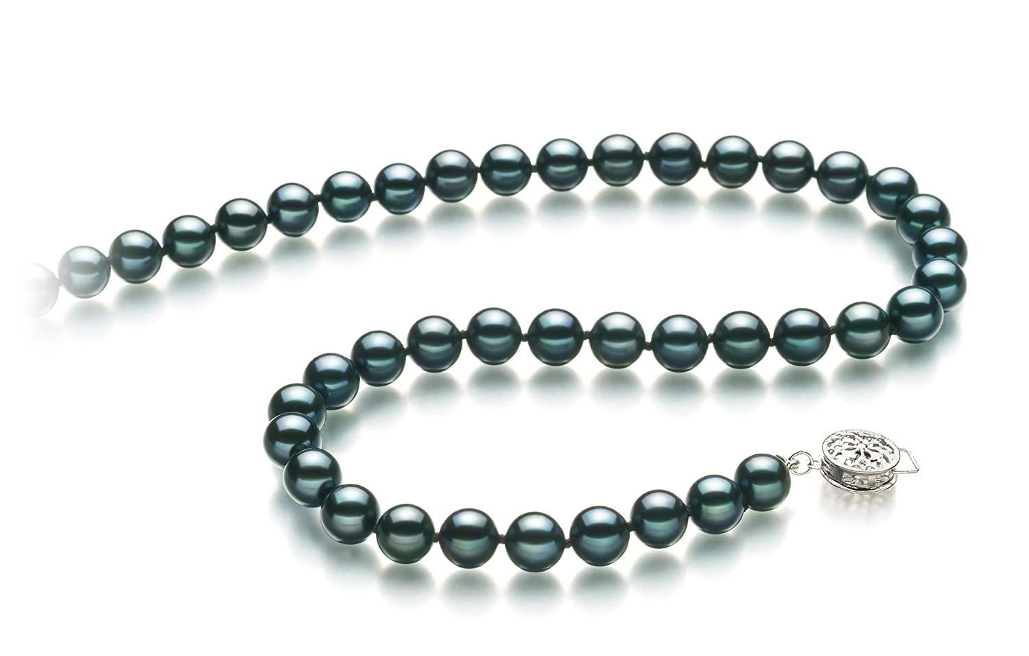 Black 6.5-7mm AA Quality Japanese Akoya 925 Sterling Silver Cultured Pearl Necklace For Women