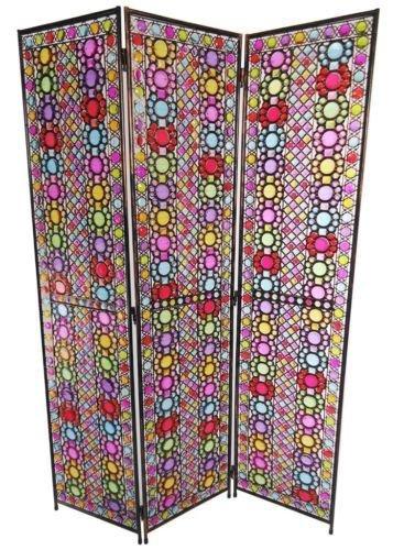 3 Panel Colourful Art Deco Flower Design Metal Room Divider Screen